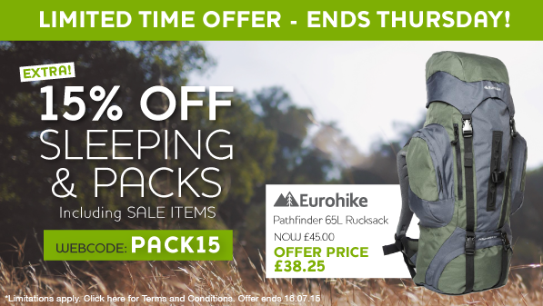 Millets – Extra 15% Off Sleeping & Packs!‏